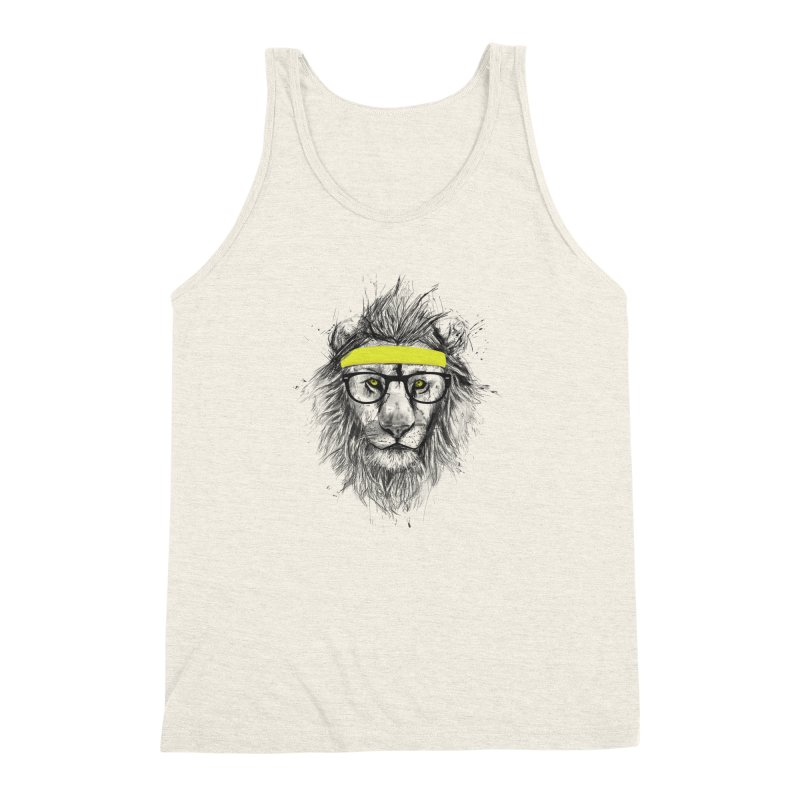 Hipster Lion Men's Triblend Tank by Balazs Solti
