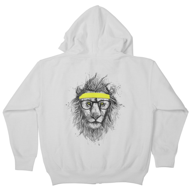 Hipster Lion Kids Zip-Up Hoody by Balazs Solti
