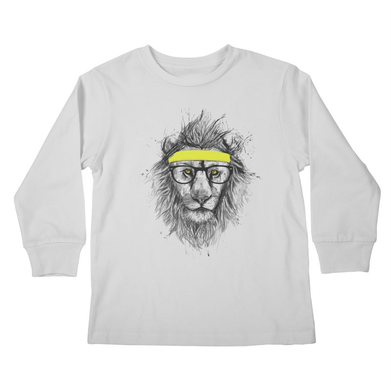 Hipster Lion Kids Longsleeve T-Shirt by Balazs Solti