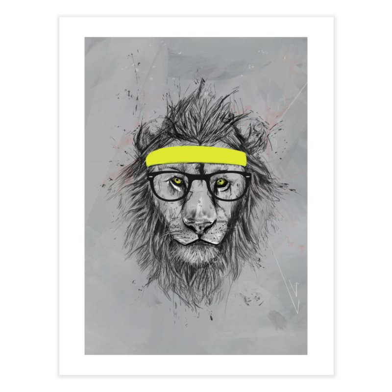 Hipster Lion Home Fine Art Print by Balazs Solti