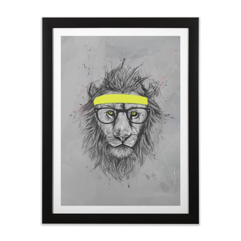 Hipster Lion Home Framed Fine Art Print by Balazs Solti