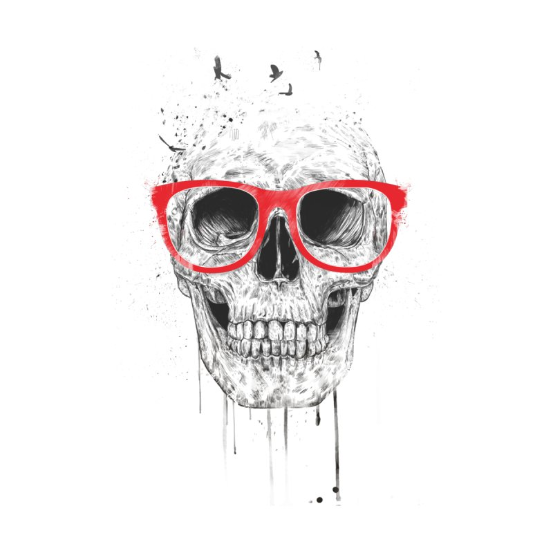 Skull With Red Glasses Accessories Skateboard by Balazs Solti