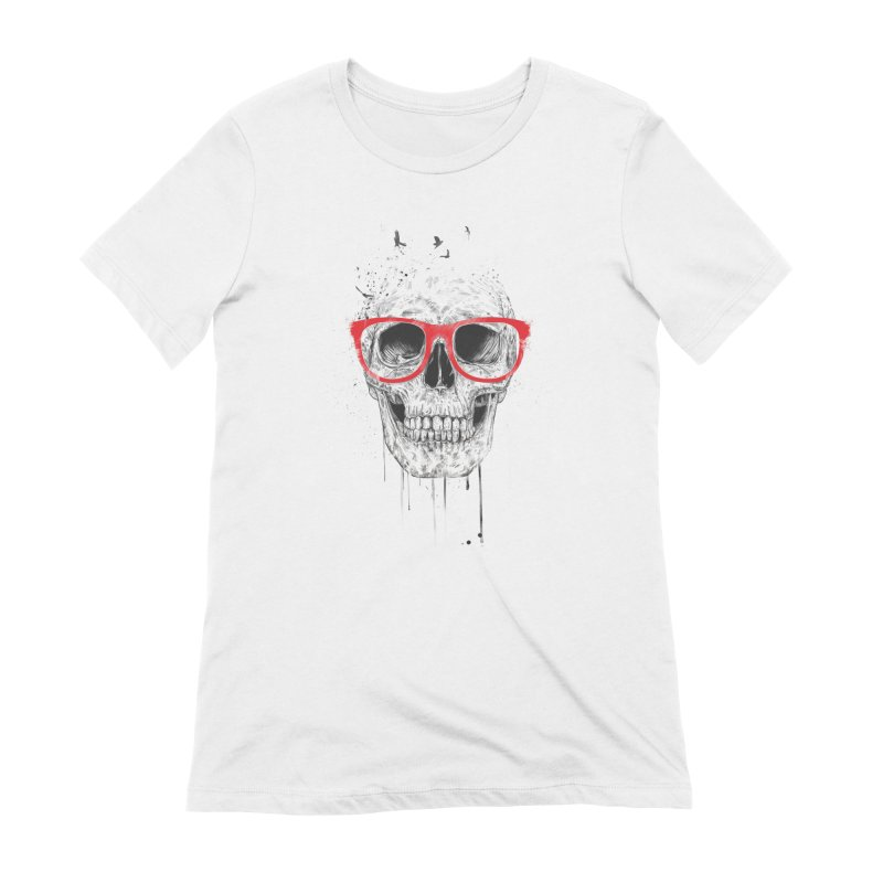 Skull With Red Glasses Women's Extra Soft T-Shirt by Balazs Solti