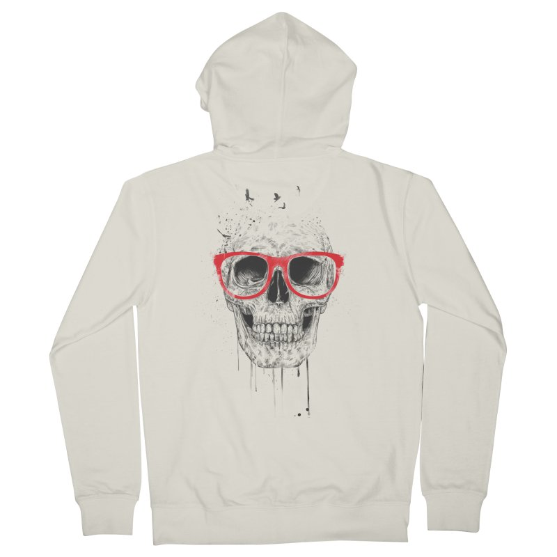 Skull With Red Glasses Women's Zip-Up Hoody by Balazs Solti
