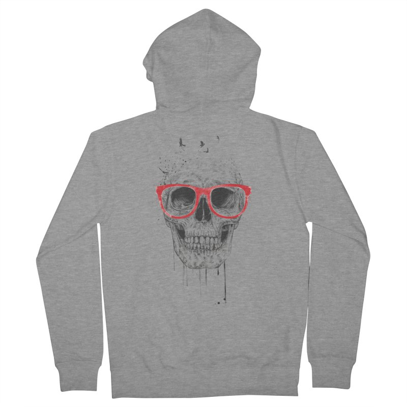 Skull With Red Glasses Men's Zip-Up Hoody by Balazs Solti