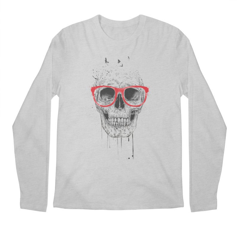 Skull With Red Glasses Men's Longsleeve T-Shirt by Balazs Solti