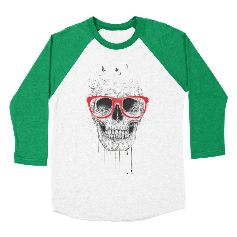 Skull With Red Glasses Women's Baseball Triblend T-Shirt by Balazs Solti