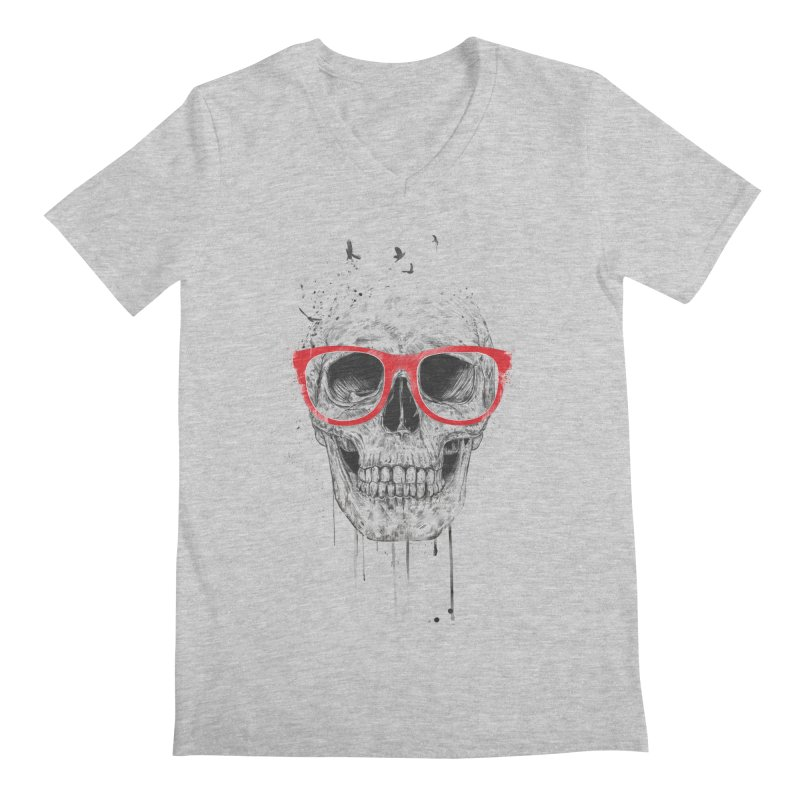 Skull With Red Glasses Men's V-Neck by Balazs Solti