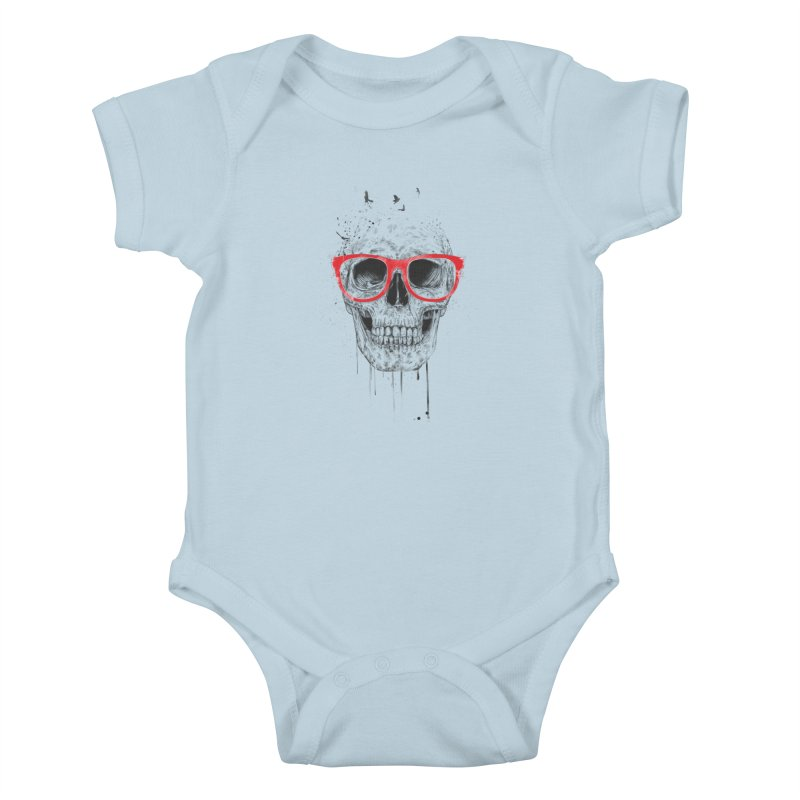 Skull With Red Glasses Kids Baby Bodysuit by Balazs Solti