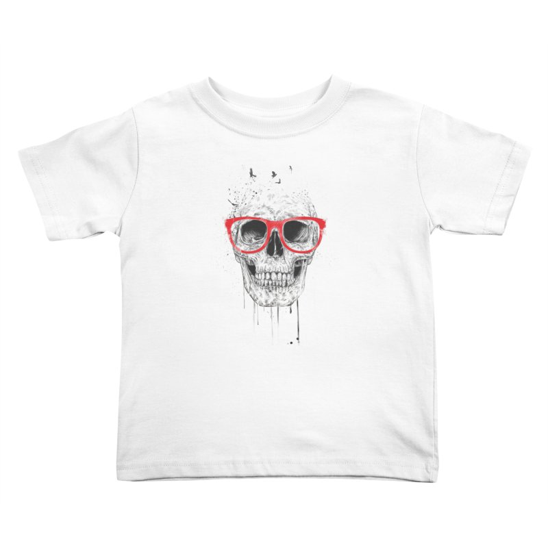 Skull With Red Glasses Kids Toddler T-Shirt by Balazs Solti