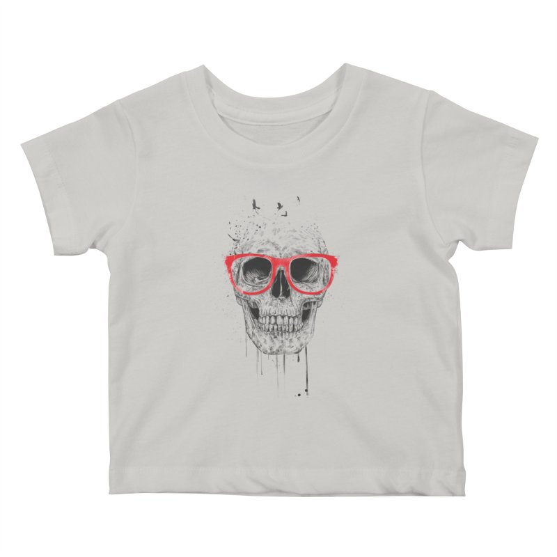 Skull With Red Glasses Kids Baby T-Shirt by Balazs Solti