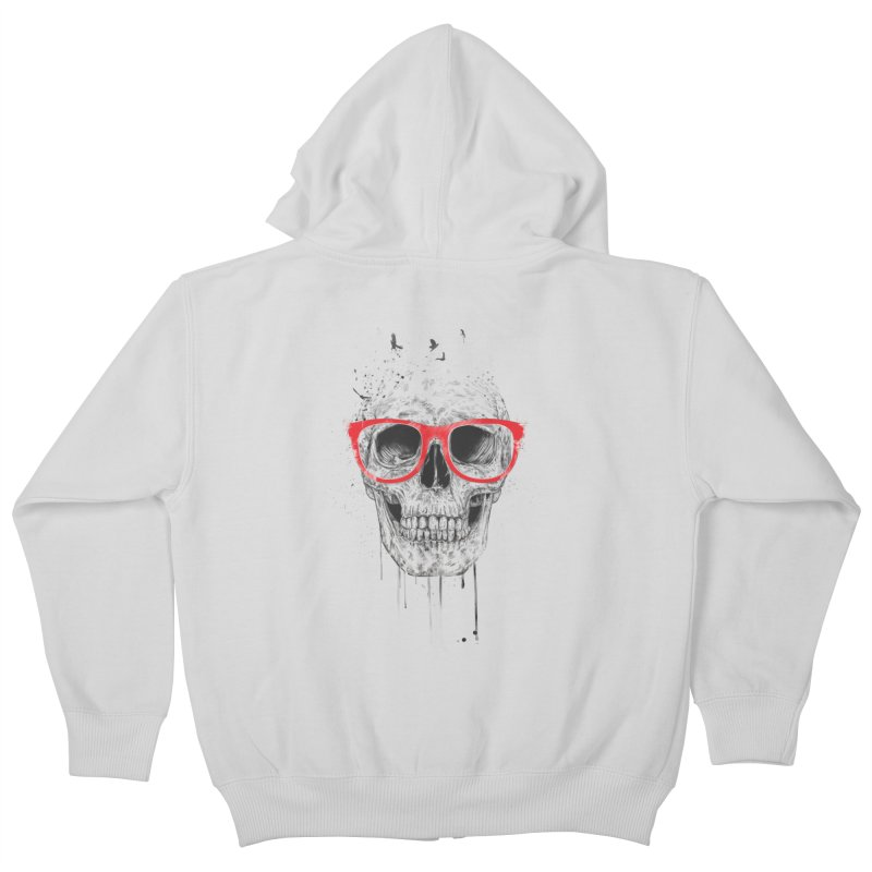 Skull With Red Glasses Kids Zip-Up Hoody by Balazs Solti
