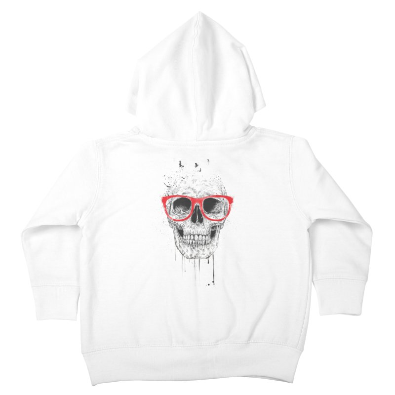 Skull With Red Glasses Kids Toddler Zip-Up Hoody by Balazs Solti