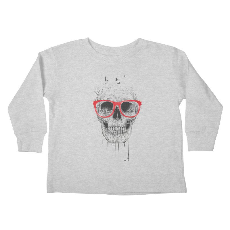 Skull With Red Glasses Kids Toddler Longsleeve T-Shirt by Balazs Solti