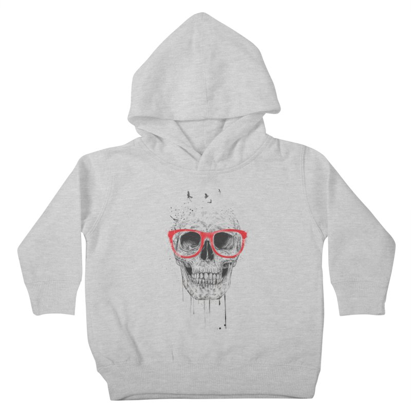 Skull With Red Glasses Kids Toddler Pullover Hoody by Balazs Solti