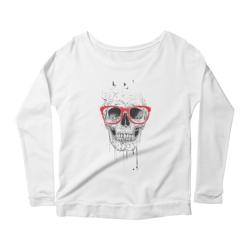 Skull With Red Glasses Women's Longsleeve Scoopneck  by Balazs Solti