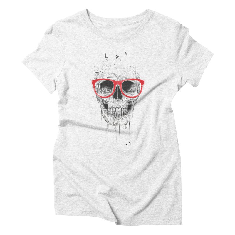 Skull With Red Glasses Women's Triblend T-shirt by Balazs Solti