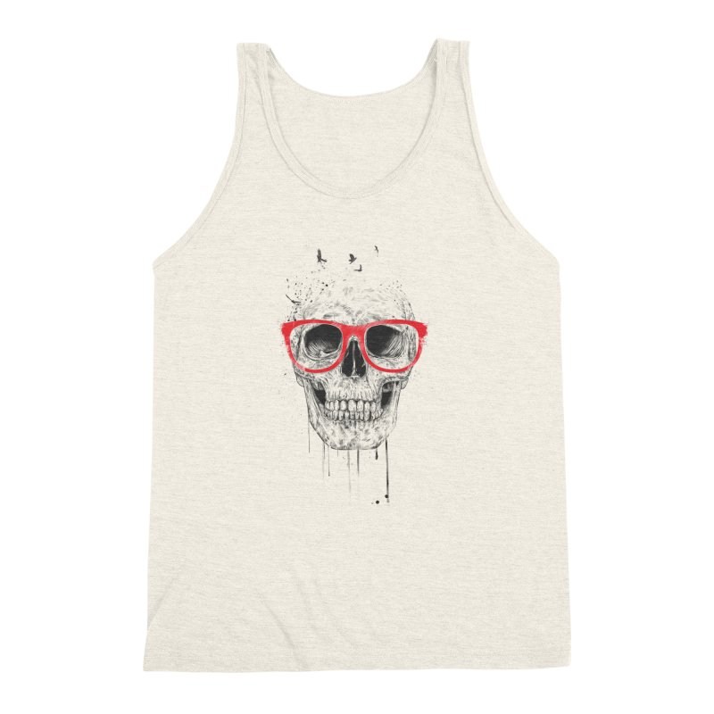 Skull With Red Glasses Men's Triblend Tank by Balazs Solti