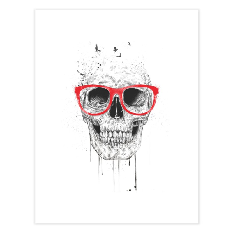 Skull With Red Glasses Home Fine Art Print by Balazs Solti