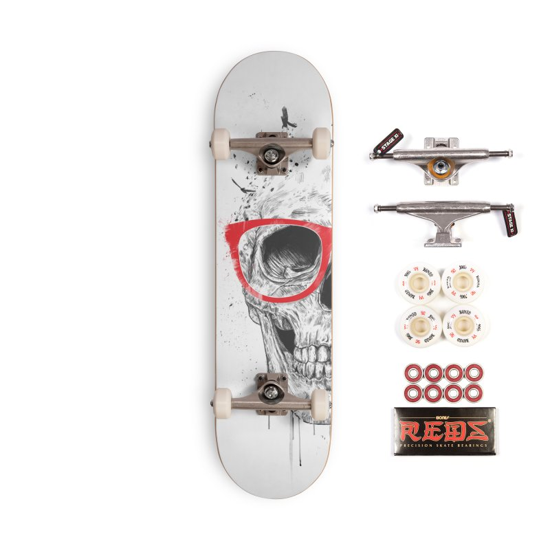 Skull With Red Glasses Accessories Complete - Pro Skateboard by Balazs Solti