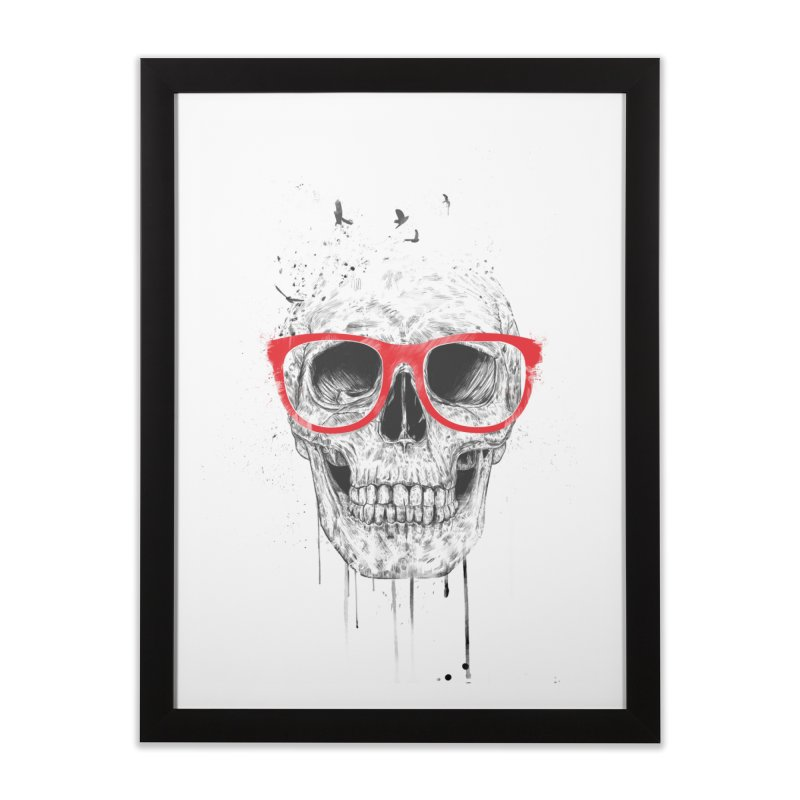 Skull With Red Glasses Home Framed Fine Art Print by Balazs Solti