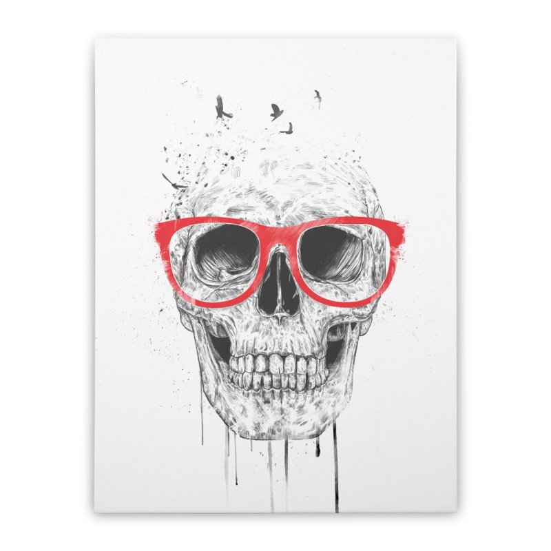 Skull With Red Glasses Home Stretched Canvas by Balazs Solti