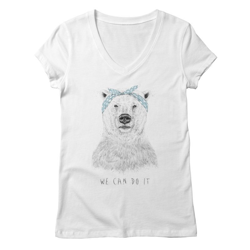 We Can Do It Women's V-Neck by Balazs Solti