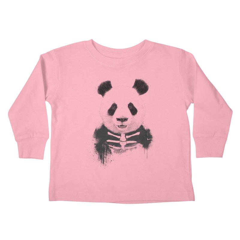 Zombie Panda Kids Toddler Longsleeve T-Shirt by Balazs Solti