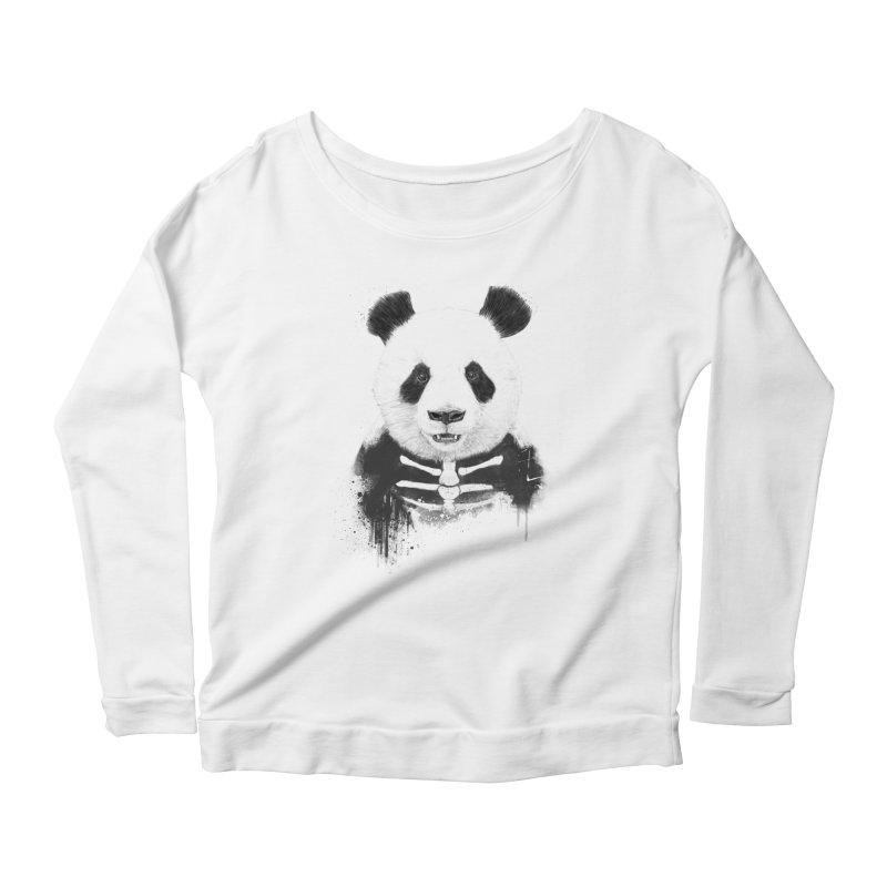 Zombie Panda Women's Longsleeve Scoopneck  by Balazs Solti