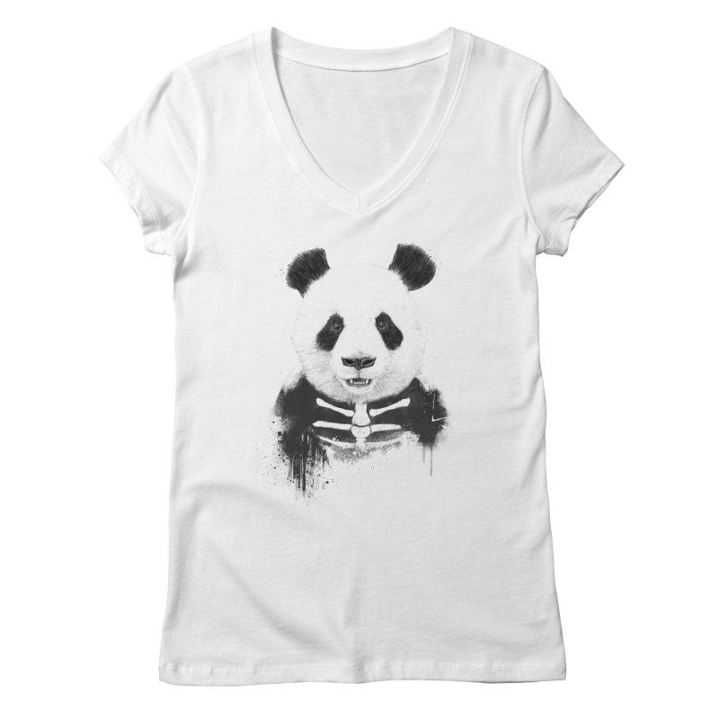 Zombie Panda Women's V-Neck by Balazs Solti