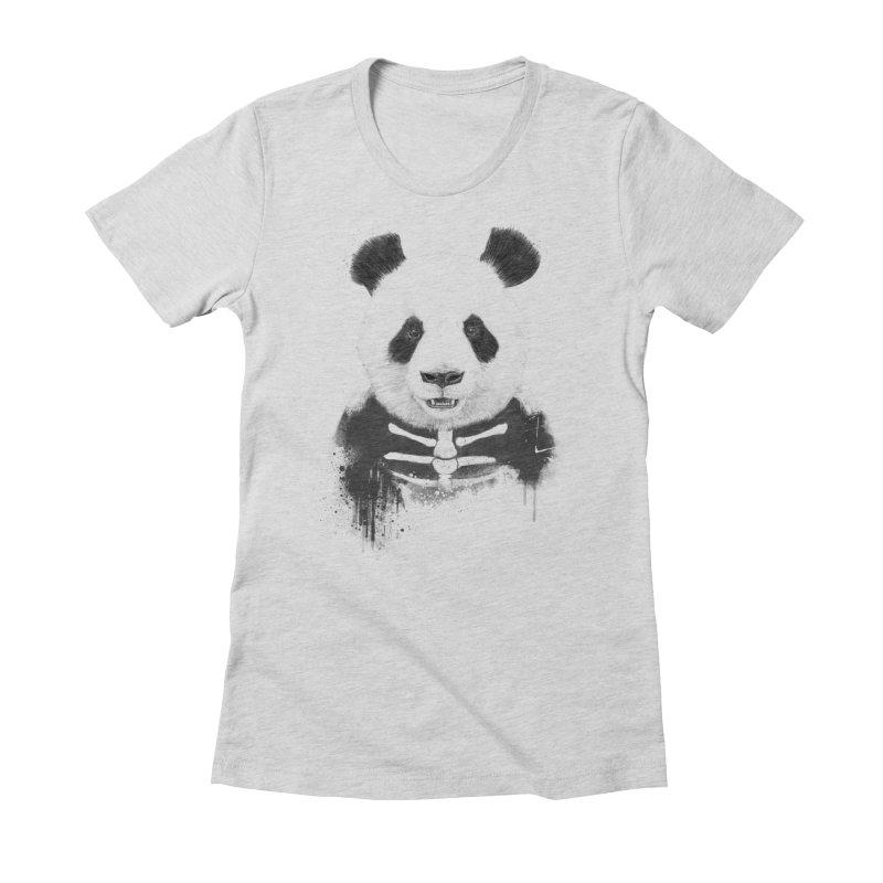 Zombie Panda Women's Fitted T-Shirt by Balazs Solti