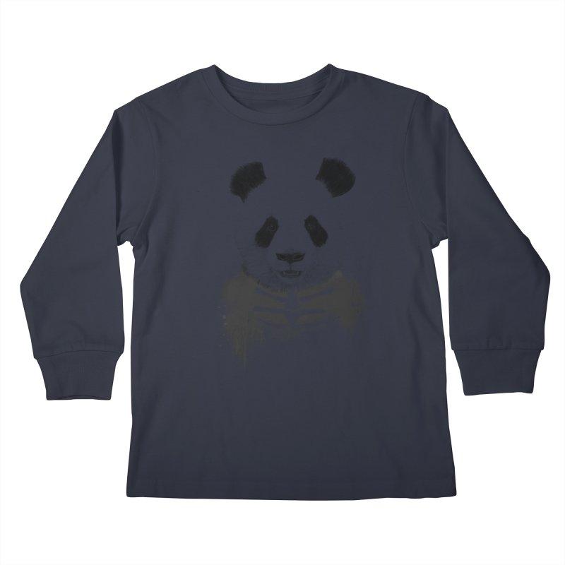 Zombie Panda Kids Longsleeve T-Shirt by Balazs Solti