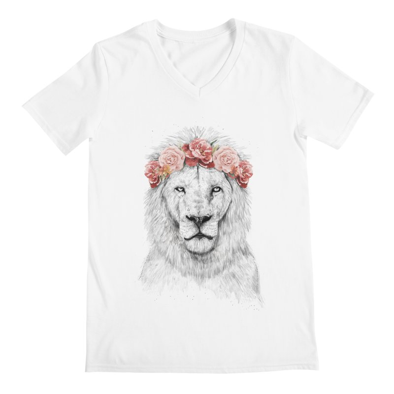 Festival lion Men's V-Neck by Balazs Solti