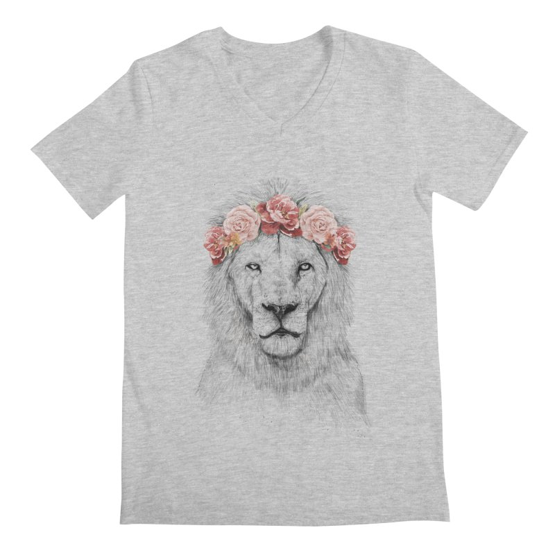 Festival lion Men's V-Neck by Balazs Solti