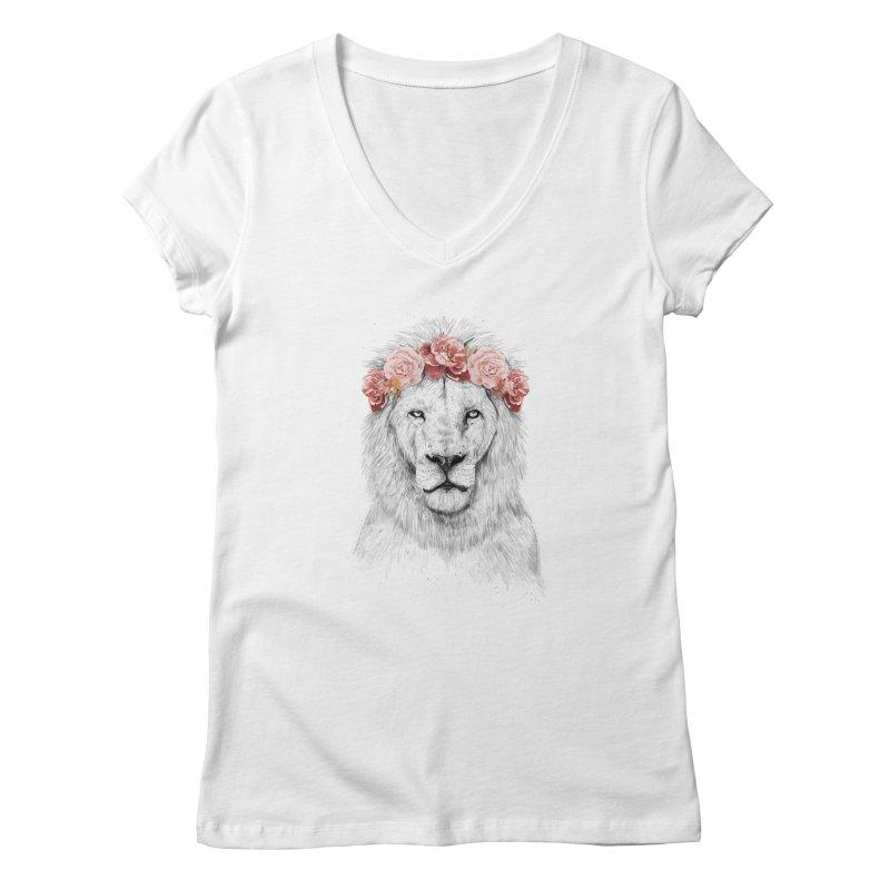Festival lion Women's V-Neck by Balazs Solti