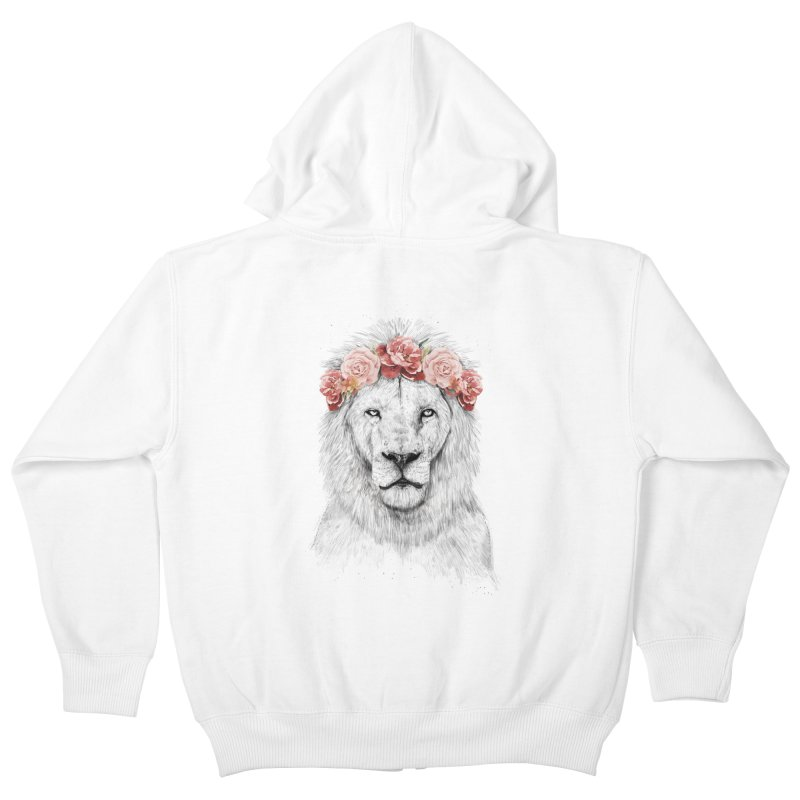 Festival lion Kids Zip-Up Hoody by Balazs Solti