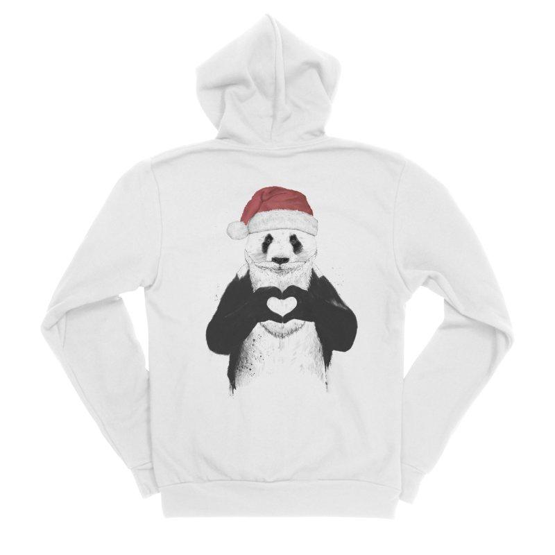 Santa panda Women's Sponge Fleece Zip-Up Hoody by Balazs Solti