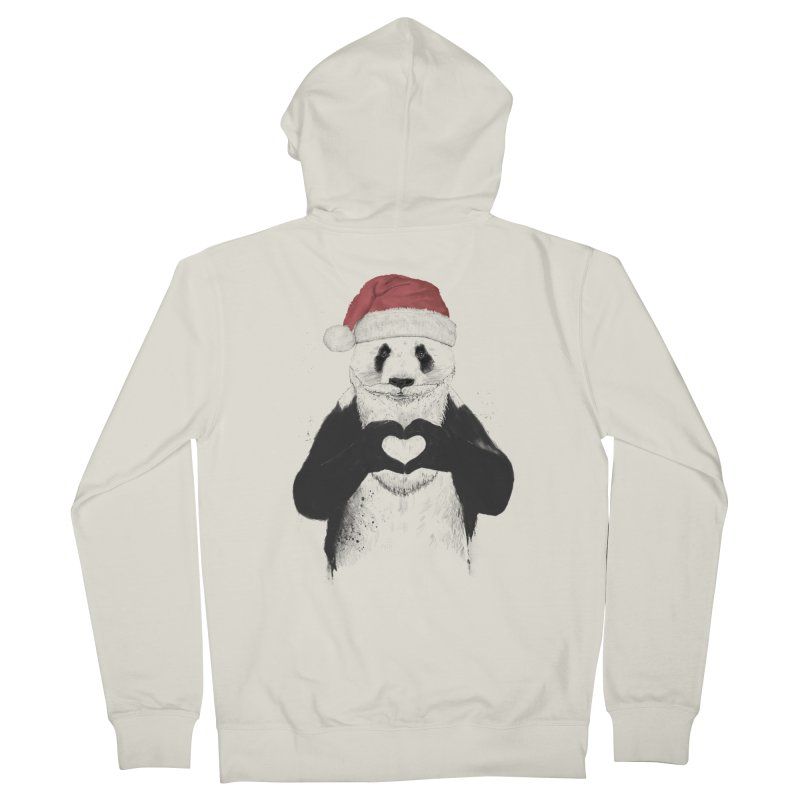 Santa panda Women's French Terry Zip-Up Hoody by Balazs Solti