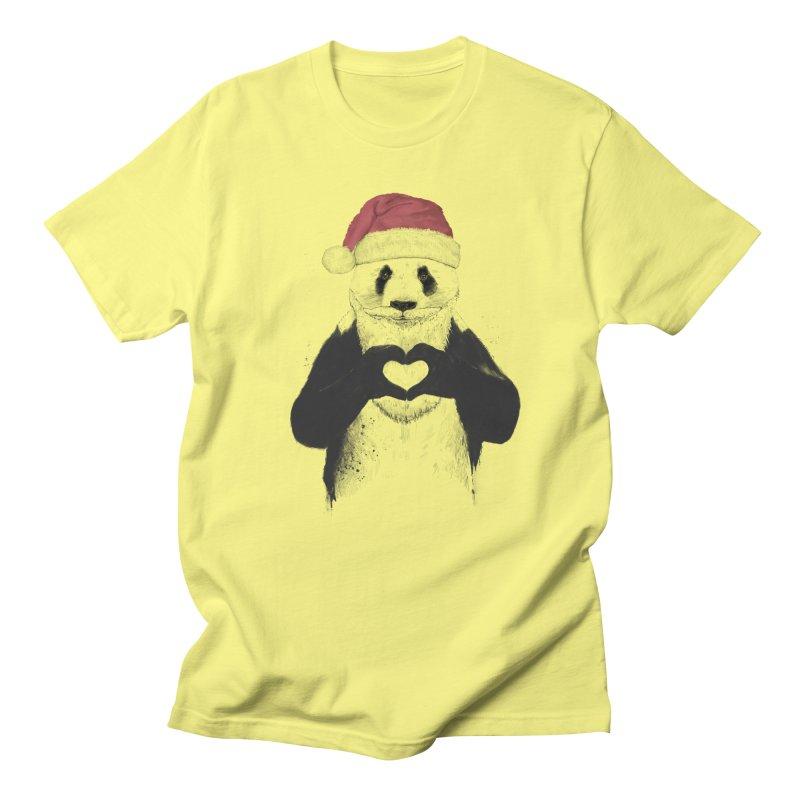 Santa panda Women's Regular Unisex T-Shirt by Balazs Solti