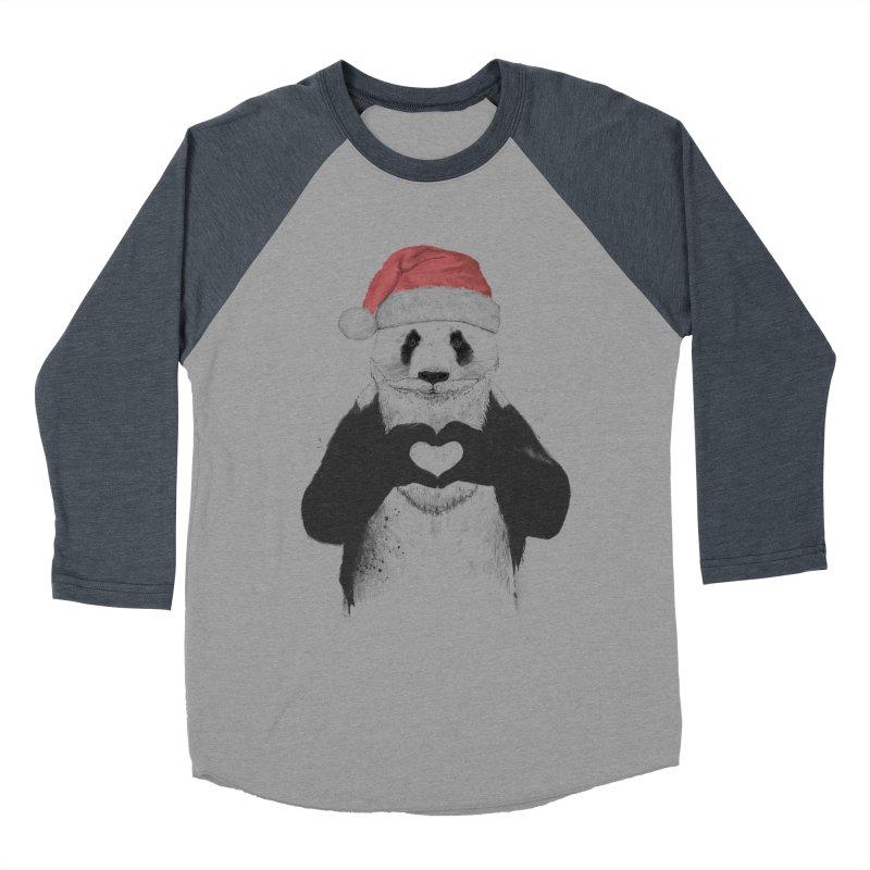 Santa panda Women's Baseball Triblend Longsleeve T-Shirt by Balazs Solti