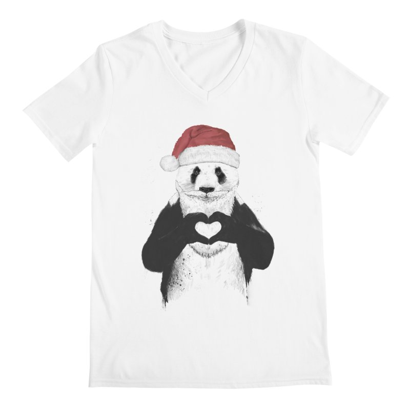 Santa panda Men's V-Neck by Balazs Solti