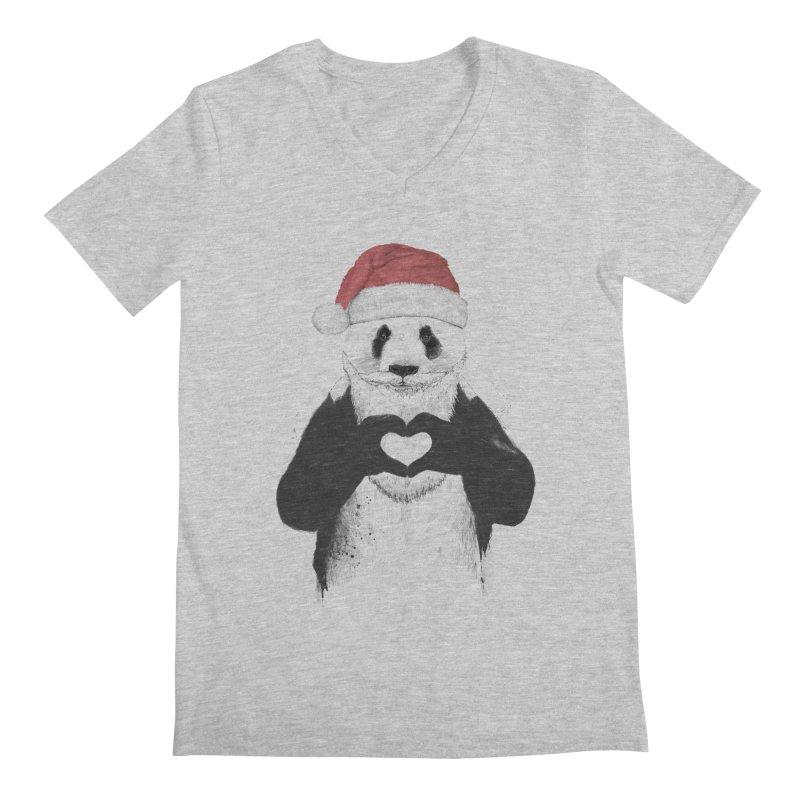 Santa panda Men's V-Neck by Balazs Solti