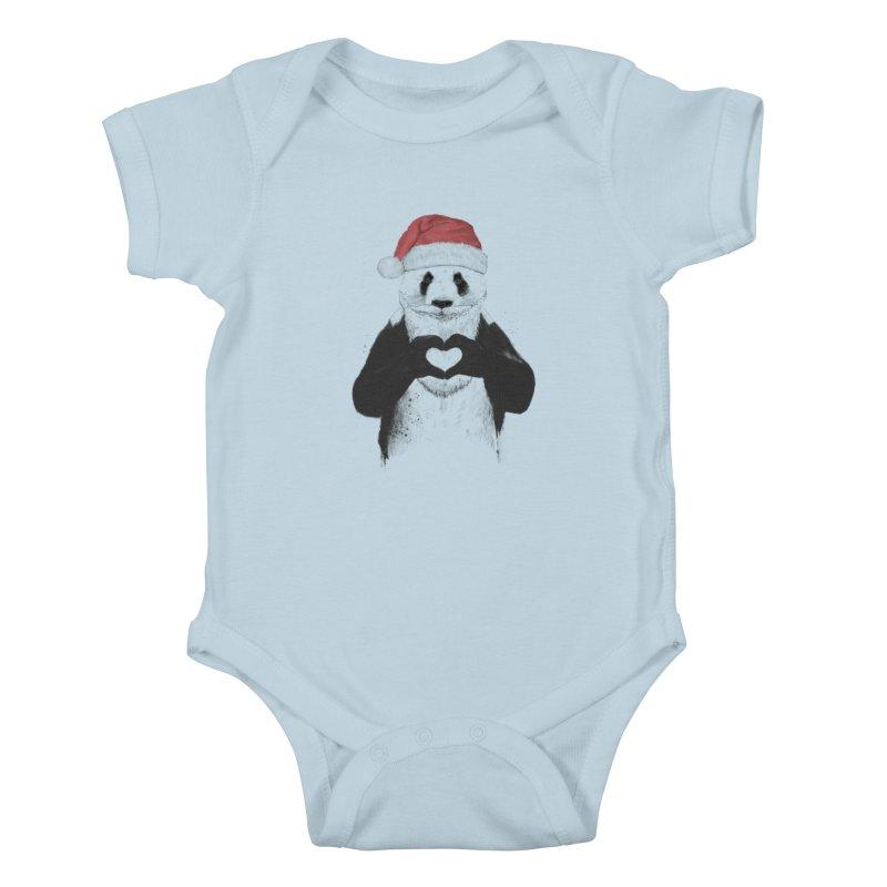 Santa panda Kids Baby Bodysuit by Balazs Solti