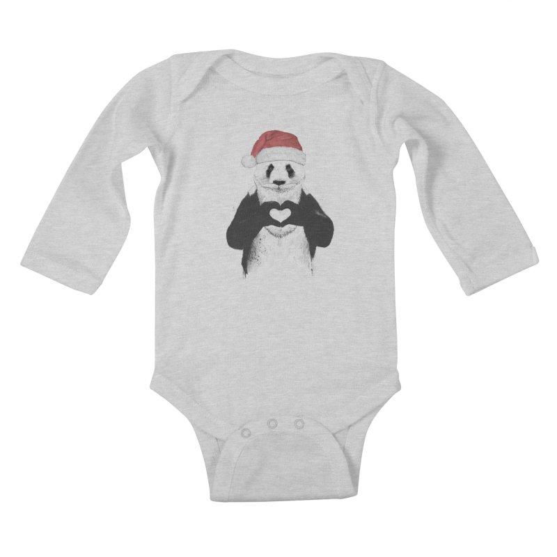 Santa panda Kids Baby Longsleeve Bodysuit by Balazs Solti