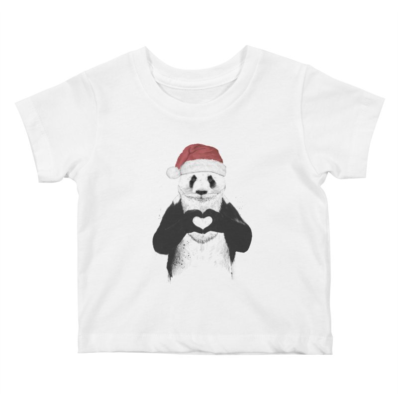 Santa panda Kids Baby T-Shirt by Balazs Solti