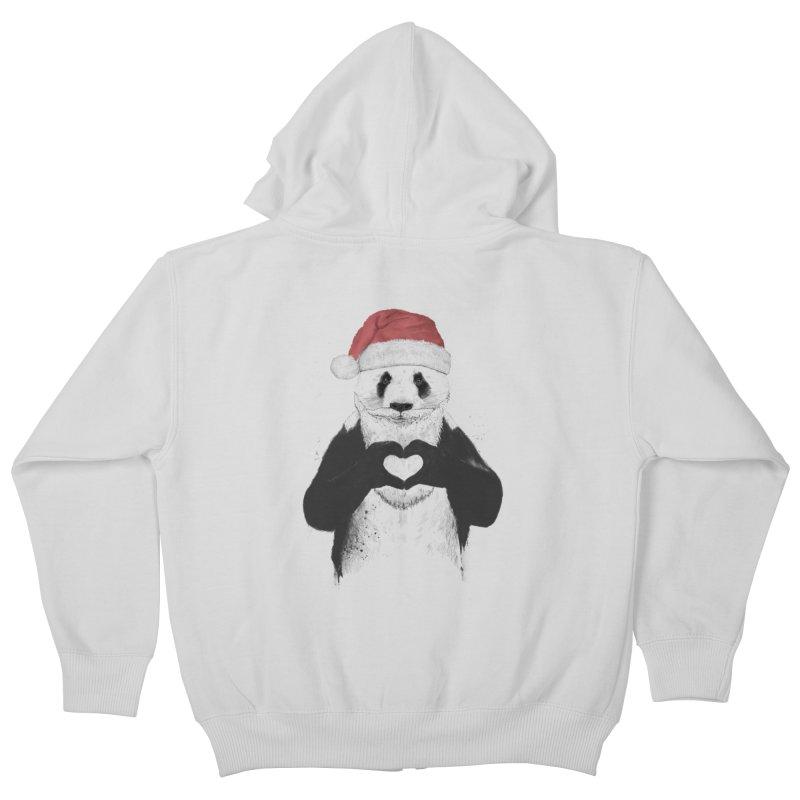Santa panda Kids Zip-Up Hoody by Balazs Solti