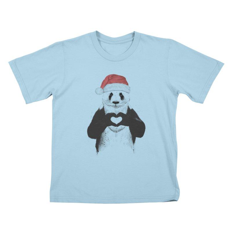 Santa panda Kids T-Shirt by Balazs Solti