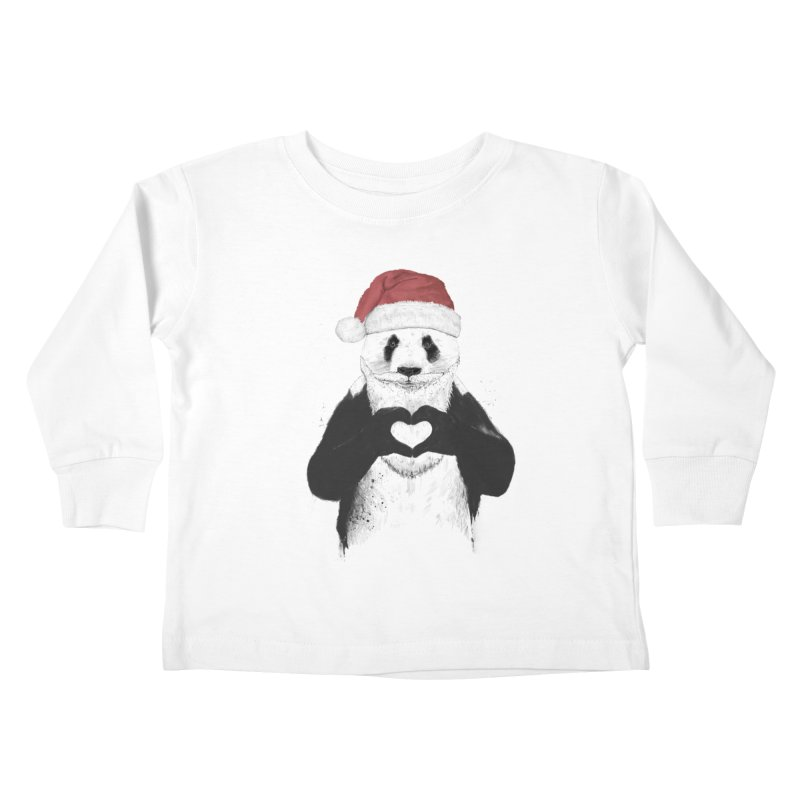Santa panda Kids Toddler Longsleeve T-Shirt by Balazs Solti