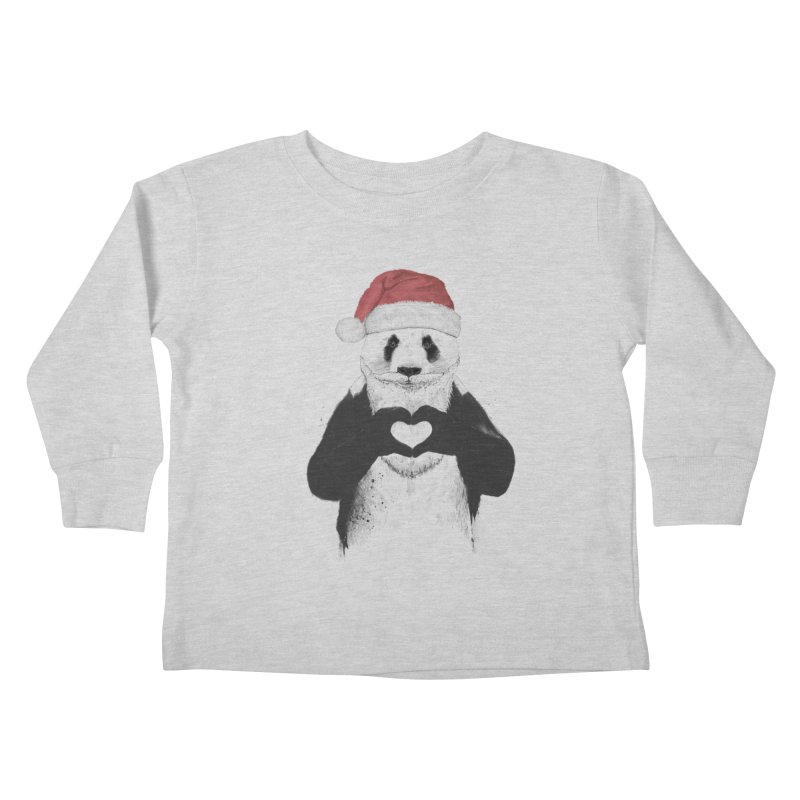 Santa panda Kids Toddler Longsleeve T-Shirt by Balazs Solti