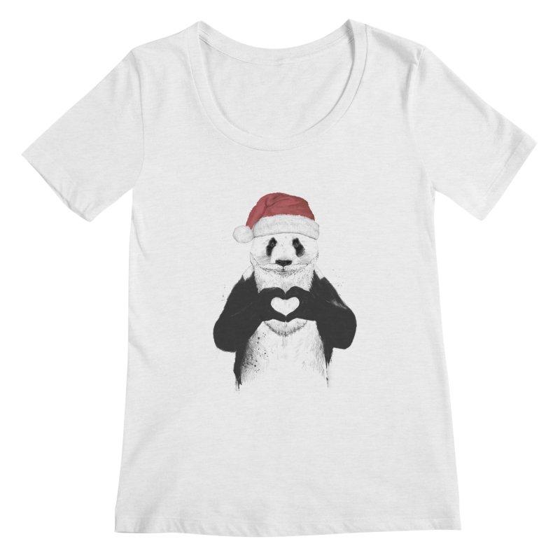 Santa panda Women's Scoopneck by Balazs Solti